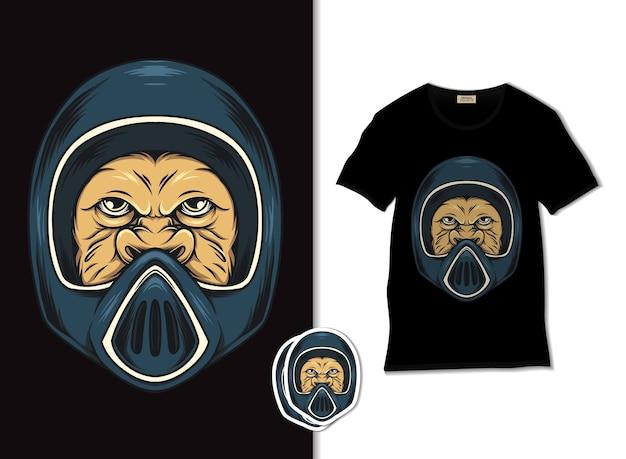 Tシャツのデザイン、手描きのモンキーライダーのイラスト