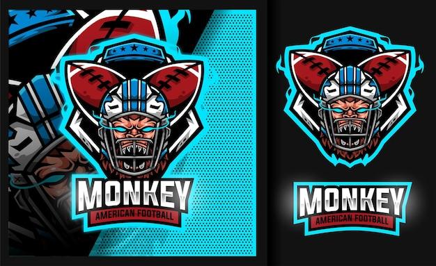Monkey rugby mascot sport football logo