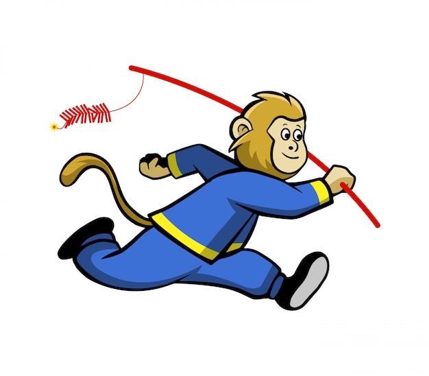 Monkey run and bring firecracker.