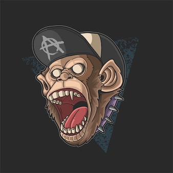 Monkey screaming young spirit illustration