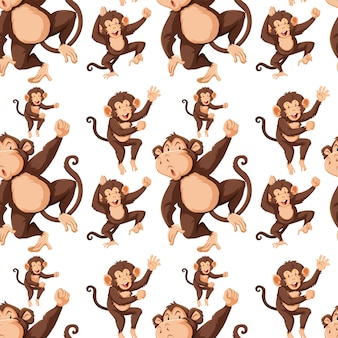Monkey on seamless pattern b