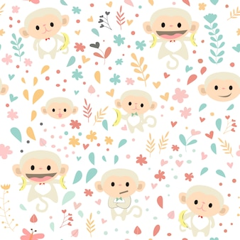 Monkey seamless pattern