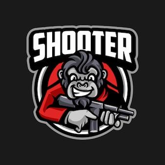 Monkey shooter sport logo