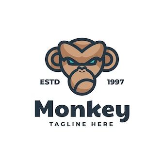 원숭이 간단한 마스코트 스타일 로고 템플릿