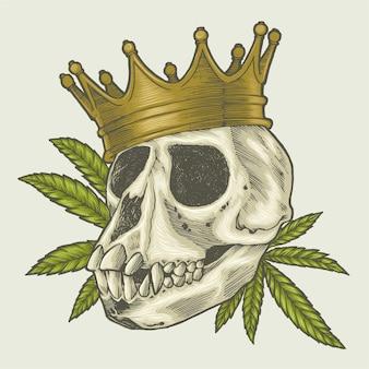 王冠のイラストを身に着けている猿の頭蓋骨