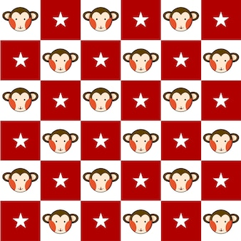 Monkey star red white chess board background