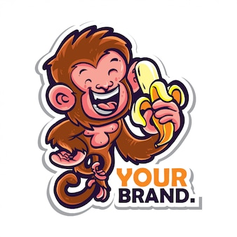 Стикер обезьяны логотип
