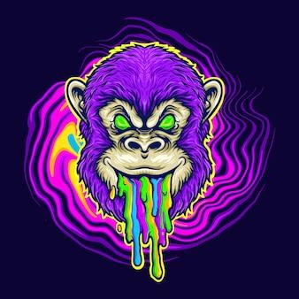 작업 로고, 마스코트 상품 티셔츠, 스티커 및 라벨 디자인, 포스터, 인사말 카드 광고 비즈니스 회사 또는 브랜드에 대한 원숭이 트리피 사이키델릭 벡터 삽화.