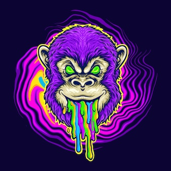 Monkey trippy psychedelic vector illustrations for your work logo, mascot merchandise t-shirt, stickers and label designs, poster, greeting cards advertising business company or brands.