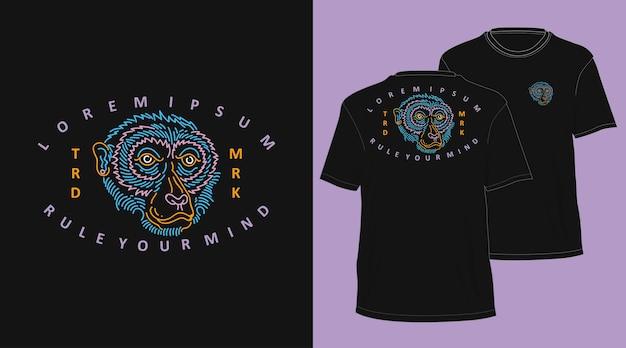 원숭이 빈티지 monoline 손으로 그린 tshirt 디자인