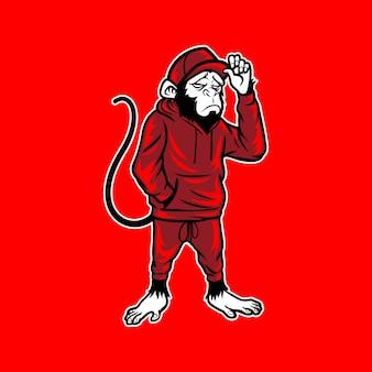 Monkey wear sweatpants and hat