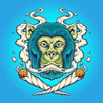 작업을 위한 원숭이 위드 흡연 담배 벡터 삽화 로고, 마스코트 상품 티셔츠, 스티커 및 라벨 디자인, 포스터, 인사말 카드 광고 비즈니스 회사 또는 브랜드.