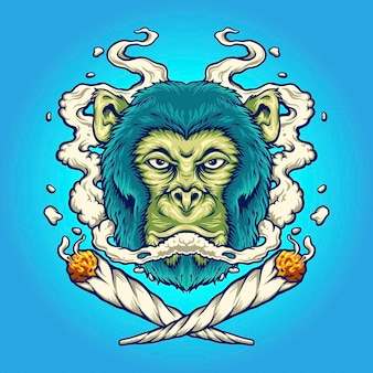 Monkey weed smoking cigarette vector illustrations for your work logo, mascot merchandise t-shirt, stickers and label designs, poster, greeting cards advertising business company or brands.