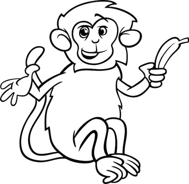 バナナの彩色ページの猿