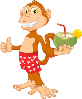 Monkey with coconut cartoon