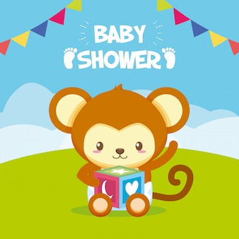 Monkey with cube toy for baby shower card