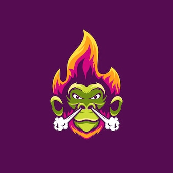 Monkey with fire and smoke illustration awesome