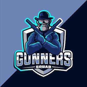 Обезьяна с пистолетом esport талисман логотип