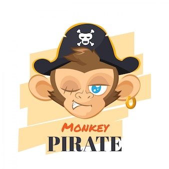 Monkey with pirate hat