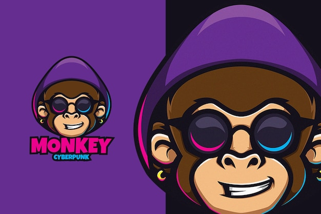 Monkey with sunglasses on cyber punk concept