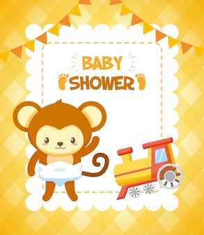 Monkey with train for baby shower card
