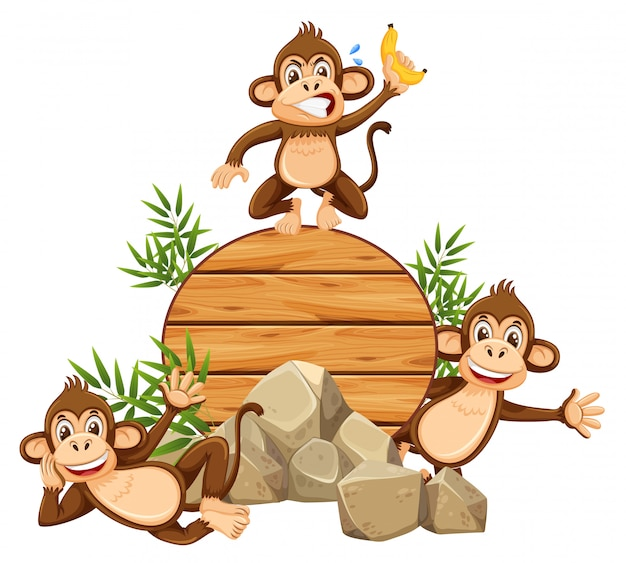 Monkey on wooden template