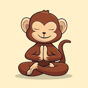 원숭이 요가 만화 침팬지 길조 자세 swastikasana