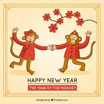 Monkeys dancing new year card