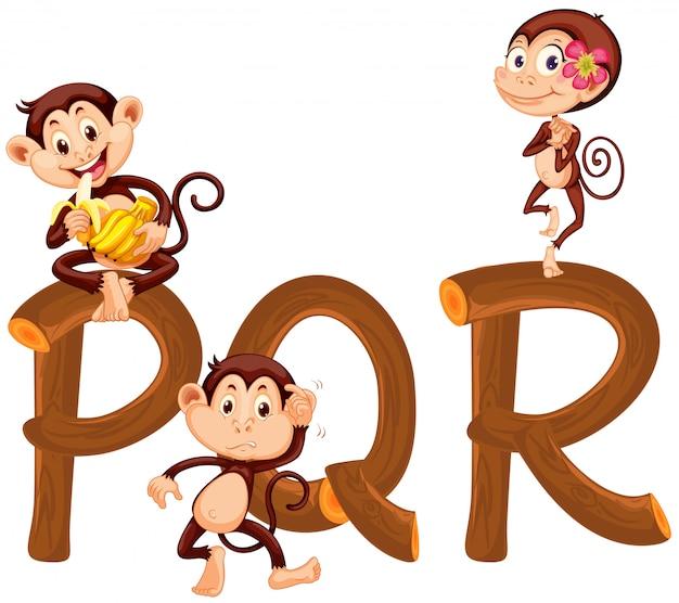 Monkeys on english alphabet