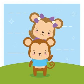 Monkeys on nature, cute animals, flat and cartoon style, illustration