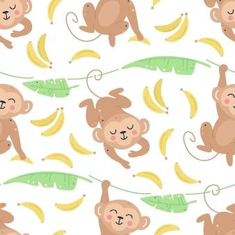 Обезьяны с бананами и листьями бесшовные модели