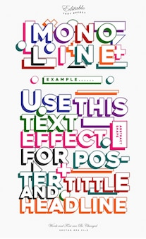 Mono line colorful text effect