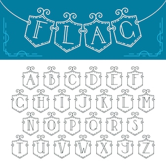 Mono line decorative font. latin alphabet of isolated bunting flags with outline letters.