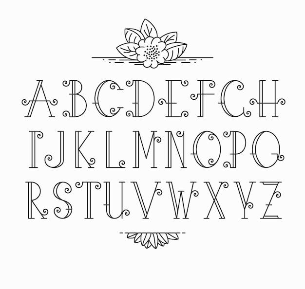 Mono line decorative font. latin alphabet of vintage outline letters.