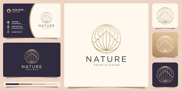 Mono line nature logo. minimalist flower nature linear style in circle shape design inspiration.