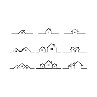 Mono line real estate house logo icon template