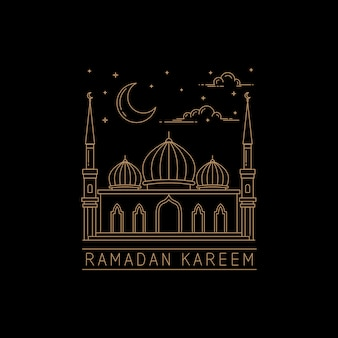 Mono line style mosque vector design