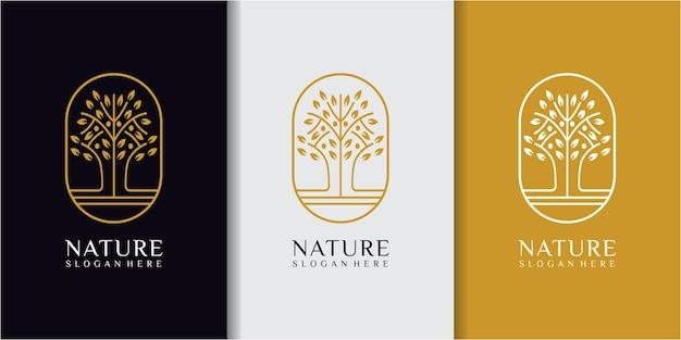 Вдохновение для дизайна логотипа mono line tree. дерево логотип дизайн