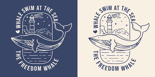 メルクサーイラストとモノラルラインクジラ。