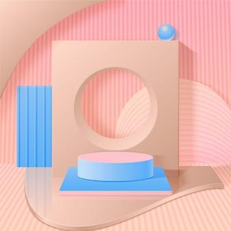 単色の抽象的な3d表彰台