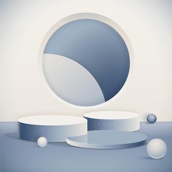 Monochromatic abstract 3d podium