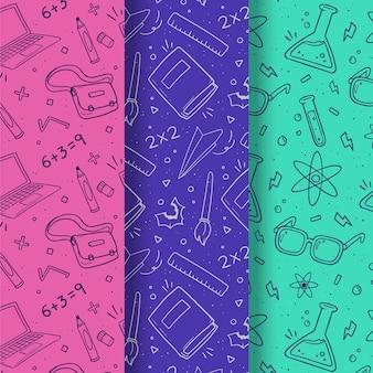 Monochromatic back to school patterns set