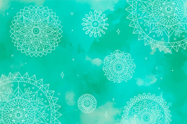 Monochromatic background in watercolor with mandalas