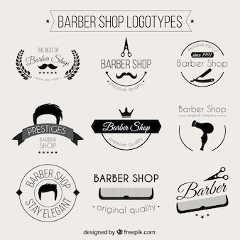 Monochromatic barber shop logos
