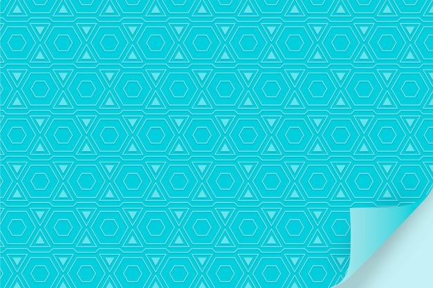 図形と単色の青いパターン