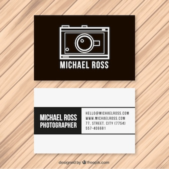 Monochromatic business card of photographer