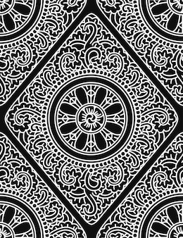 Monochromatic ethnic seamless pattern
