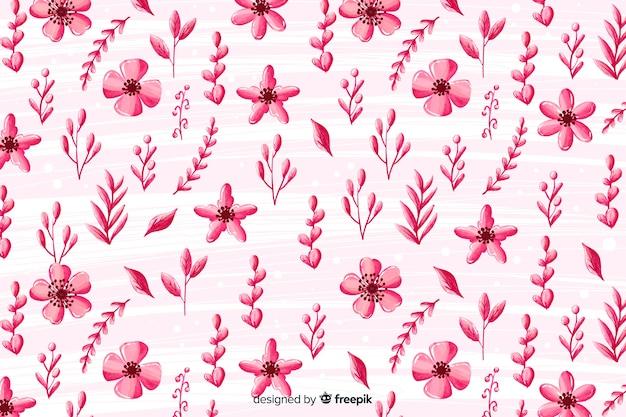 단색 꽃 수채화 배경