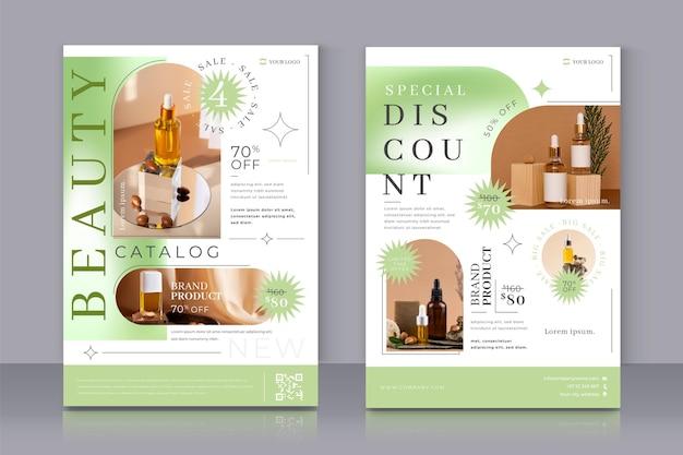 Catalogo dei prodotti di bellezza sfumati monocromatici
