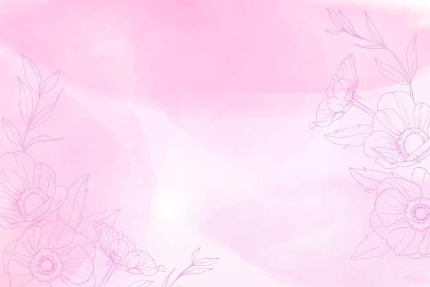 Монохромный ручной росписью фон с нарисованными элементами природы